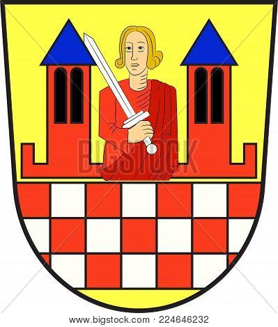 Coat of arms of Iserlohn is a city in the Maerkischer district, in North Rhine-Westphalia, Germany. Vector illustration