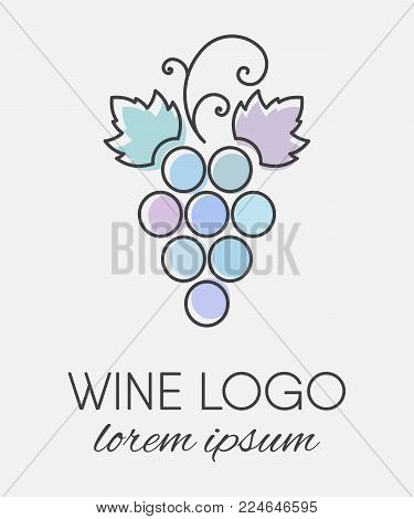 Blue colored grapes logo in line art style. Wine or vine logotype icon. Brand design element for organic wine, wine list, menu, liquor store, selling alcohol, wine company. Vector illustration.