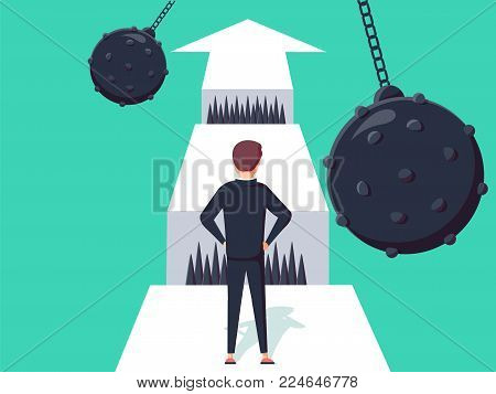 Business challenge concept with businessman walking towards gap. Symbol of success, opportunity or overcoming, ambition and courage vector illustration. Man thinking about ways to business obstacle.
