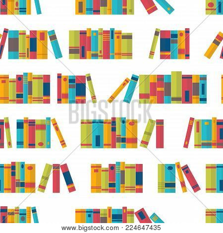 Colorful seamless pattern with book on bookshelves. Library, bookstore. Flat design. Vector illustration