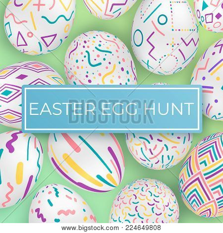 Easter egg hunt template with ornate eggs. Vector poster with ornate eggs on green background