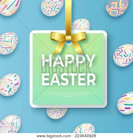 Happy easter template with golden ribbon, bow and ornate eggs. Vector poster with ornate eggs on blue background