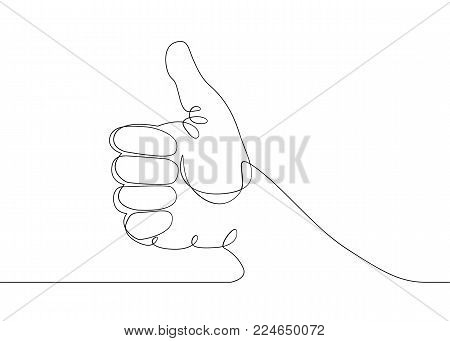 Continuous one line drawing hand palm fingers gestures. Hand showing great sign