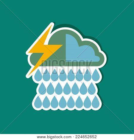 paper sticker on stylish background thunderstorm rain cloud