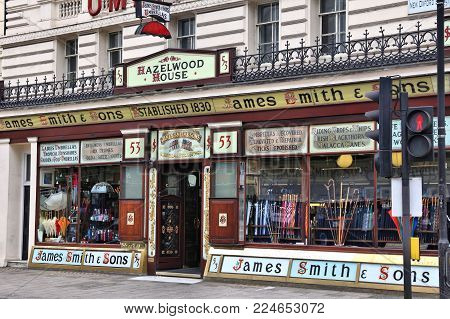 London, Uk - July 9, 2016: James Smith And Sons Umbrella Store In London. The New Oxford Street Stor