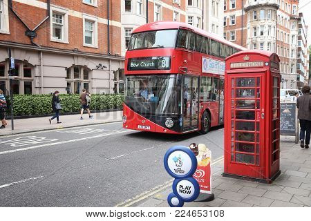 London, Uk - July 9, 2016: New Routemaster Bus In Bloomsbury, London. The Hybrid Diesel-electric Bus