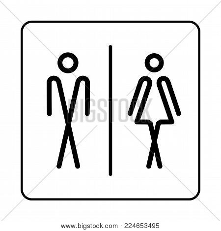 Wc Toilet Door Plate Icon. Simple Bathroom Plate