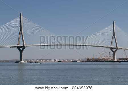 horizontal view of the bridge of the constitution of 1812 in the city of cadiz, spain