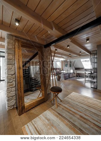 Attic apartment interior design