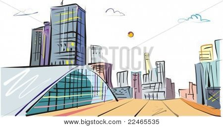 Vector Illustration to the business city