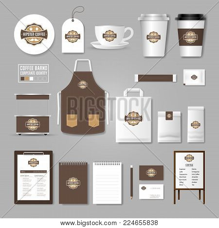 Corporate Identity Template. Concept For Coffee Shop, Cafe, Restaurant. Realistic Mock Up Template S