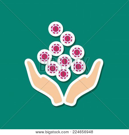 paper sticker on stylish background of coins in hand