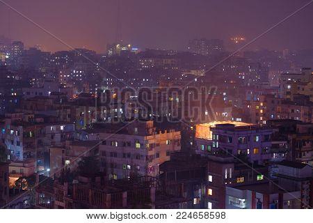 high density districts at night in dhaka in bangladesh