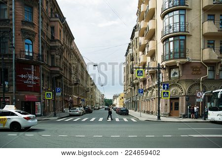 St. Petersburg, Russia - July 10, 2016Town Scene from the city center Petersburg in the second capital of Russia, Europe on a July Day. Manezhny Lane