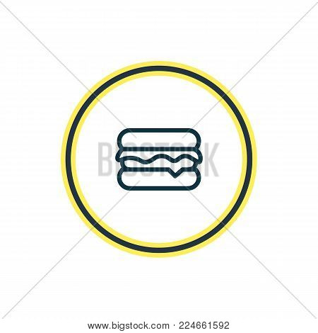 Vector illustration of burger icon line. Beautiful hobby element also can be used as cheeseburger icon element.