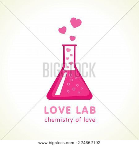 Love lab logo design vector template. Flask with pink hearts icon in flat style isolated on white background. Happy Valentines Day concept chemistry of love elixir
