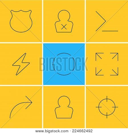 Vector illustration of 9 UI icons line style. Editable set of share, repeat, bolt and other icon elements.
