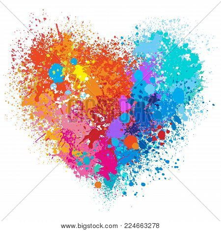 Vector heart in warm and cold colors made of spray and drops grunge background