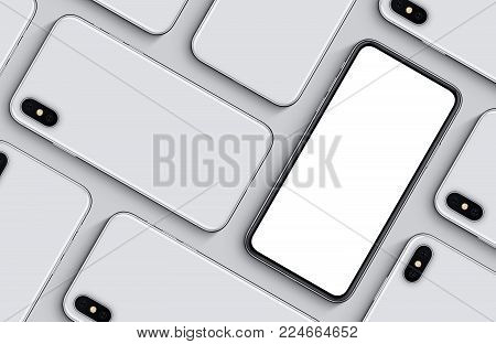 iPhone X style smartphones mockup top view flat lay pattern. New frameless smartphone back side and front side mockup. 3D illustration.