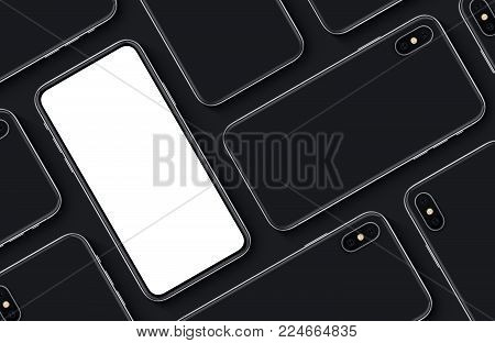 iPhone X style smartphones pattern mockup top view flat lay. New frameless smartphone back side and front side mockup. 3D illustration.