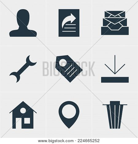 Vector illustration of 9 internet icons. Editable set of spanner, user, bin and other icon elements.