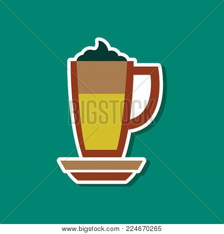paper sticker on stylish background of coffee cup of latte