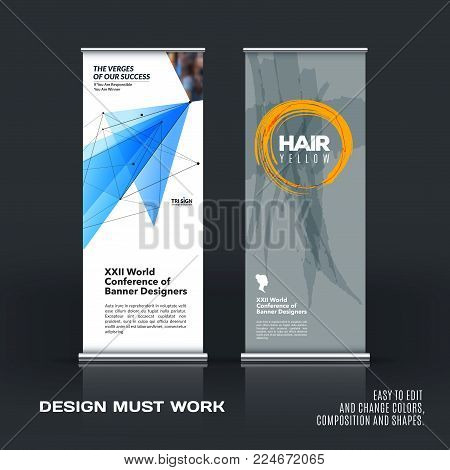 Abstract business vector set of modern roll up banner stand design template with blue grey triangles, geometric shapes for event, market, exhibition, show, expo, presentation, parade.