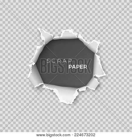 Sheet of paper with hole inside. Template realistic page of  scrap paper with rough edge for banner. Vector illustration isolated on transparent background