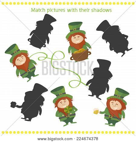 funny shadow Leprechaun game. Vector illustration of shadow matching game with happy cartoon Leprechaun for children