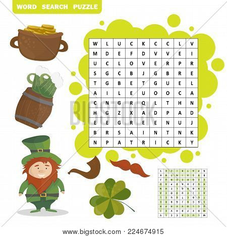 Patricks Day holiday themed word search puzzle - Answer included - Vector