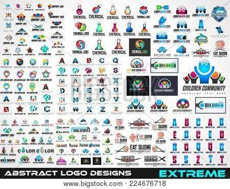 Large Collection of logos for brand design, logotype prototype of different kind like real estate, chemical, childrens, abstract, business, sushi and so on.