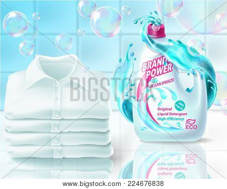 Vector realistic promo banner of washing liquid, poster for advertising liquid detergent in bottle, jar. 3d template for product, concept with soap bubbles, foam. Bathroom background for internet, web