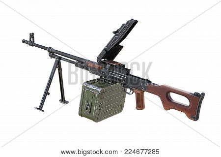 Gun automatic firearm with bullet and magazine. 3D rendering