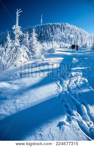 Lysa hora hill in Moravskoslezske Beskydy mountains in Czech republic during freezing winter day with clear sky