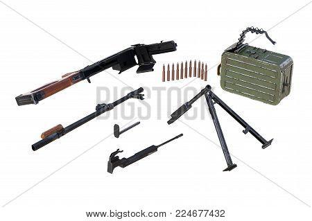 Gun firearm black disassembled view. 3D rendering