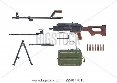 Rifle army equipment disassembled view. 3D rendering