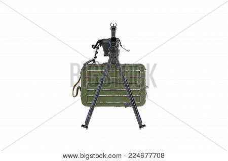Gun automatic bipod with magazine, front view. 3D rendering