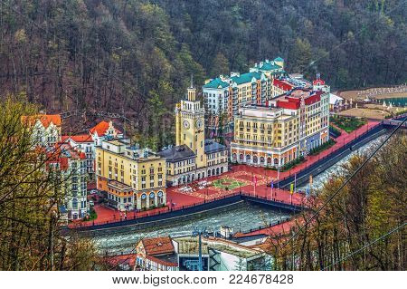 SOCHI, RUSSIA - APRIL 20, 2015: The ski resort of Rosa Khutor.
