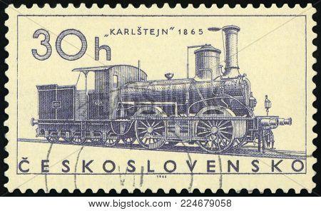 CZECHOSLOVAKIA - CIRCA 1966: post stamp printed in former Czechoslovakia (Ceskoslovensko) shows Ajax train 1841; locomotives; Scott 1374 A523 20h; circa 1966