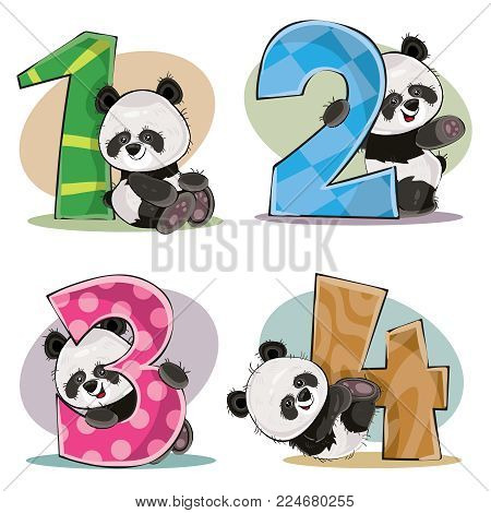 Set of cute baby panda bears with numbers vector cartoon illustration. Clipart for greeting card for kids birthday, invitation for invite, template, t-shirt print. Fun math, counting, numerals 1, 2, 3, 4