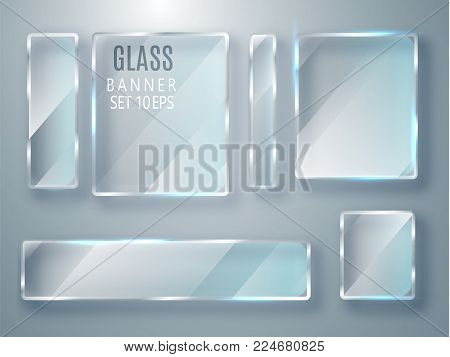 Glass Transparent Plates Set. Vector Glass Modern Banners Isolated On Transparent Background. Flat G