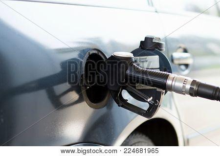 Diesel gun in the tank of the car