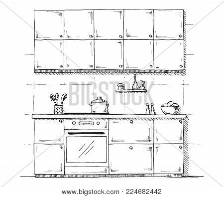 Sketch of kitchen furniture on a white background. Vector illustration of kitchen in a sketch style