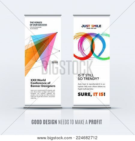 Abstract business vector set of modern roll up banner stand design template with colourful triangles, geometric shapes for event, market, exhibition, show, expo, presentation, parade.