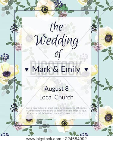 Wedding Invitations with anemone flowers. Anemone Bridal Shower invitation cards in light gray and blue theme.