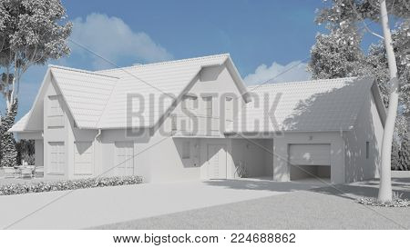 Detached house as white CAD model in the project development (3D Rendering)