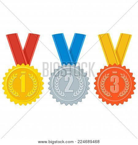 Gold, silver and bronze medal for first, second and third place in competition. Achievement sign, symbols of success and victory. Business award and sports prize. Flat vector cartoon objects.