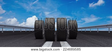 Four tires on a road as a concept for tire change (3D rendering)