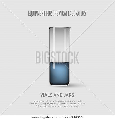 A beaker with blue liquid. Equipment for chemical laboratory. Transparent glass beaker. Vector illustration