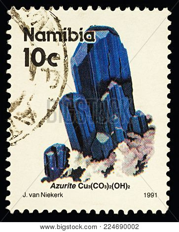 Moscow, Russia - February 01, 2018: A stamp printed in Namibia shows blue crystals of azurit, series